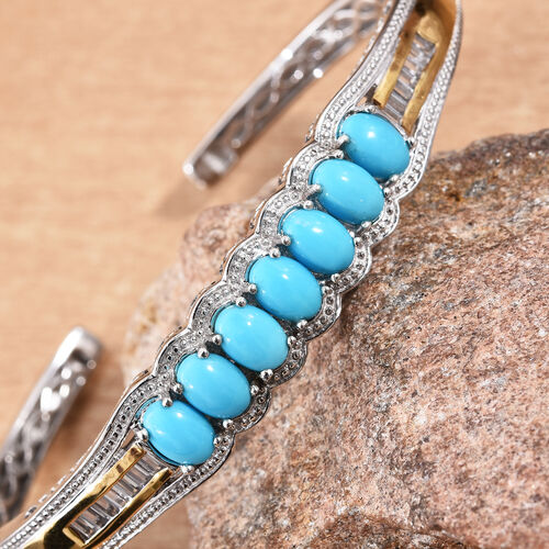 Arizona Sleeping Beauty Turquoise (Ovl), Natural Cambodian Zircon Cuff Bangle (Size 7.5) in Platinum and Yellow Gold Overlay Sterling Silver 6.250 Ct, Silver wt 22.64 Gms.