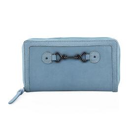 100% Genuine Leather - RFID Full Zip Secure Wallet (19  X 2.5  X 10 cm) - Dusty Blue