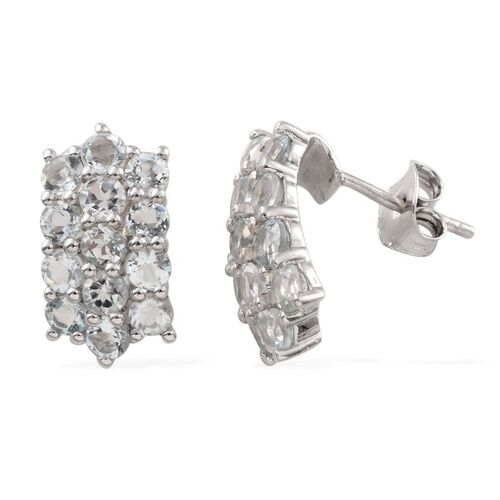 Espirito Santo Aquamarine (Rnd) Earrings (with Push Back) in Platinum Overlay Sterling Silver 2.750 Ct.