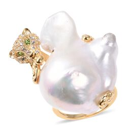 Freshwater Baroque Pearl, Natural White Cambodian Zircon and Russian Diopside Leopard Ring in Yellow