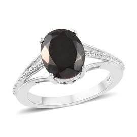 1.50 Ct Elite Shungite Solitaire Ring in Platinum Plated Silver