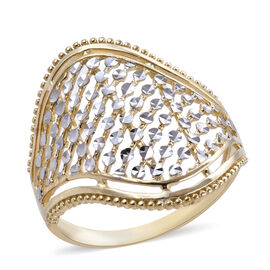 Royal Bali Diamond Cut Cocktail Ring in 9K and White Gold 2.81 grams