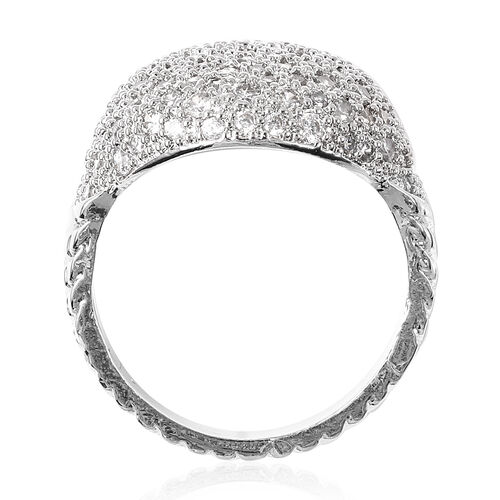 2 Piece Set -  Simulated Diamond Dome Ring and Hoop Earrings (with Clasp) in Silver Tone