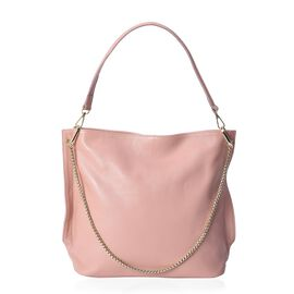 100% Genuine Leather Candy Pink Colour Shoulder Bag (Size 31x11.5x29.5 Cm) with Detachable Shoulder