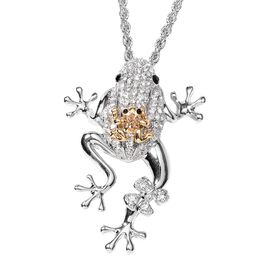 Multi Colour Austrian Crystal Frog Pendant With Chain (Size 29 with 2 inch Extender) in Silver Plate