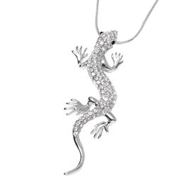 White and Black Austrian Crystal Lizard Pendant With Chain (Size 29 with 2 inch Extender) in Silver