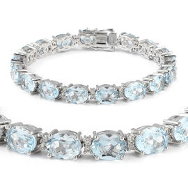 Sky Blue Topaz (Ovl 9x7 mm ), Natural Cambodian White Zircon Tennis Bracelet (Size 7.5) in Rhodium Overlay Sterling Silver 40.500 Ct, Silver wt 15.00 Gms.