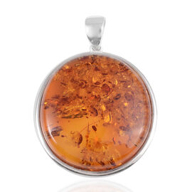 50 Ct Baltic Amber Solitaire Pendant in Rhodium Plated Sterling Silver