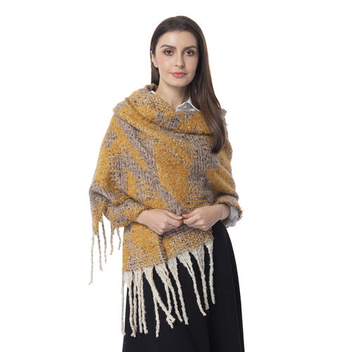 Dark Yellow Colour Abstract Pattern Scarf (Size 220x50 Cm)