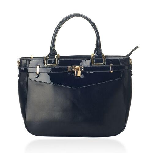 Black Colour Hand Bag with Removable and Adjustable Shoulder Strap (Size 40x18x25.5 Cm)
