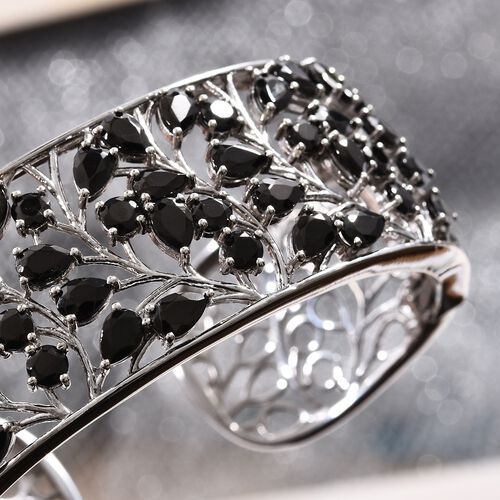Elite Shungite (Pear) Open Work Leaf Cuff Bangle (Size 7.5) in Platinum Overlay Sterling Silver 11.50 Ct, Silver wt 38.50 Gms