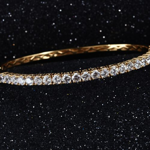 J Francis 14K Gold Overlay Sterling Silver (Rnd) Bangle (Size 7.5) Made with SWAROVSKI ZIRCONIA, Silver wt 14.36 Gms.