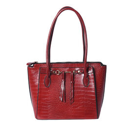 Solid Burgundy Textured Tote Bag with Hanging Ornaments and Magnetic Closure (39x14.5x30cm)