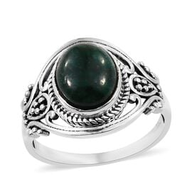 Artisan Crafted Emerald (Ovl) Ring (Size M) in Sterling Silver 5.80 Ct.