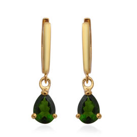 Russian Diopside Earrings (with Clasp) in Yellow Gold Overlay Sterling Silver 1.48 Ct.