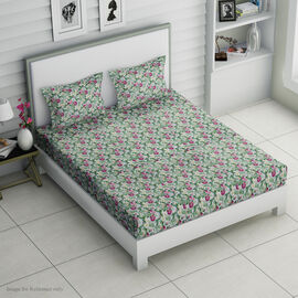 4 Piece Set : Tropical Floral Printed Microfibre Sheet Set including Flat Sheet (275x265cm), Fitted