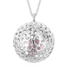 6.7 Ct Brazilian Rose Quartz Globe Design Pendant with Chain in Sterling Silver