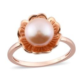 Freshwater Pink Pearl Floral Ring in Rose Gold Overlay Sterling Silver
