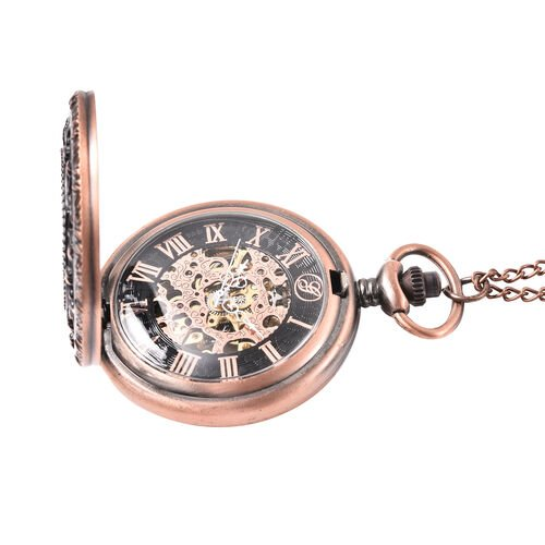 GENOA Automatic Mechanical Hollow-Out Star Pattern Skeleton Pocket Watch with Chain in Antique Rose Gold Tone