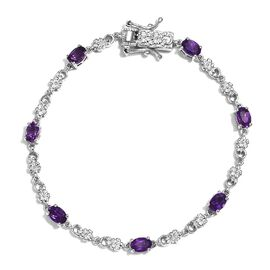Amethyst Bracelet (Size 7.5) in Platinum Plated 3.00 Ct.