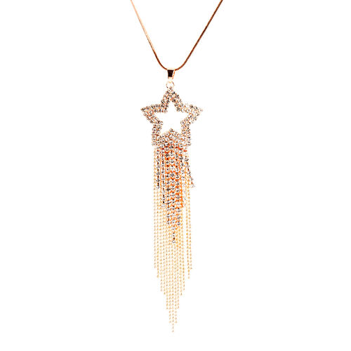 White Austrian Crystal (Rnd) Shooting Star Pendant With Chain (Size 30 with 2 inch Extender) in Rose