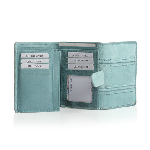 Genuine Leather RFID Blocker Blue Colour Wallet with Multiple Card Slots (Size 13.3X10.7X3.15 Cm)
