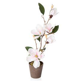 Home Decor Artificial Magnolia Denudata Pink Colour Flower with Pot (Size 53x11.5x10.5 Cm)