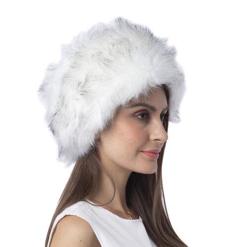 White Colour Faux Fur Hat (Size 56 Cm)