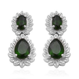 Russian Diopside Earrings (with Push Back) in Rhodium Overlay Sterling Silver 3.27 Ct.