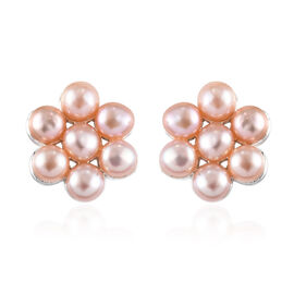 Freshwater Peach Pearl Floral Stud Earrings in Sterling Silver with Push Back
