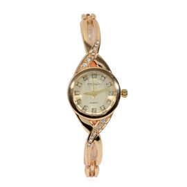 Super Auction - ETERNITY Swarovski Studded Ladies Watch in Gold Tone - 7.5 Inch