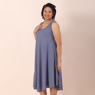 Jovie Solid Colour Viscose Sleeveless Dress in Grey (Size up to 20)