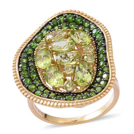 4.26 Ct Hebei Peridot and Russian Diopside Cluster Cocktail Ring in Gold Plated Silver 5 Grams
