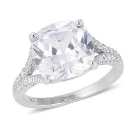 ELANZA Simulated Diamond (Cush 12x12 mm) Ring in Rhodium Overlay Sterling Silver