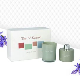 The 5th Season - Gift Box Set of Scented Candle and Diffuser - Green (Fragrance Diffuser: Gardenia &