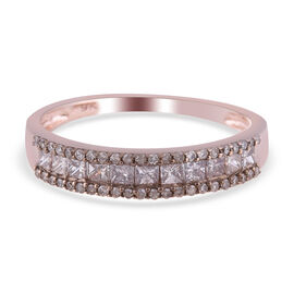9K Rose Gold   Champagne Diamond  Ring in Rhodium Overlay 1.00 ct,  Gold Wt. 2.1 Gms  1.000  Ct.