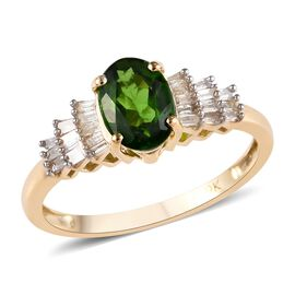 9K Yellow Gold Russian Diopside (Ovl 7x5 mm), Diamond Ballerina Ring 1.00 Ct.