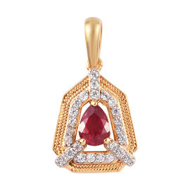 African Ruby and Natural Cambodian Zircon Pendant in 14K Gold Overlay Sterling Silver 1.50 Ct.