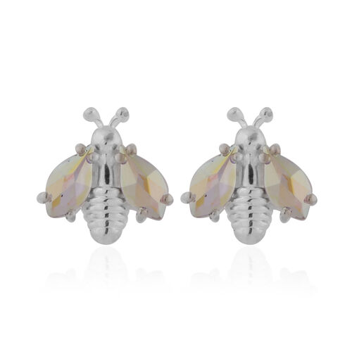 J Francis Crystal from Swarovski AB Crystal Sterling Silver Bee Earrings (with Push Back)