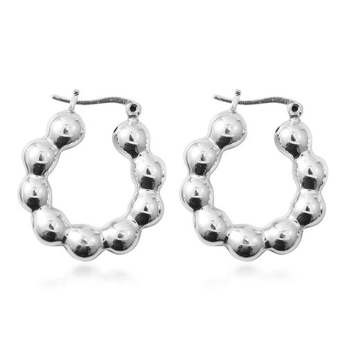 Designer Inspired- Sterling Silver Hoop Earrings (with Clasp Back), Silver wt 7.04 Gms