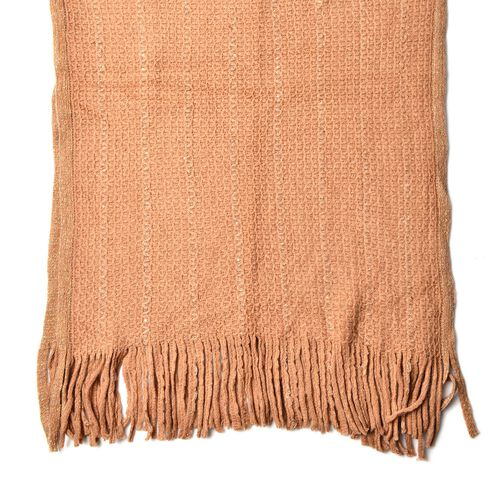 Khaki Colour Scarf with Sequins and Tassels (Size 160x60 Cm)