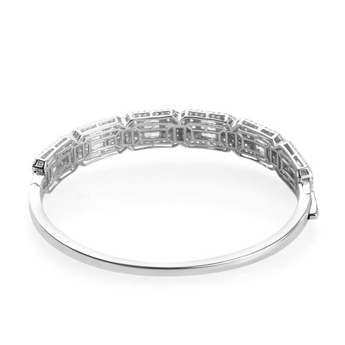 J Francis Platinum Overlay Sterling Silver Bangle (Size 7.5) Made with SWAROVSKI ZIRCONIA 14.08 Ct, Silver wt. 21.50 Gms