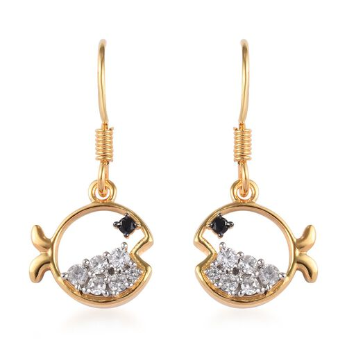 Boi Ploi Black Spinel and Natural Cambodian Zircon Fish Hook Earrings in 14K Gold Overlay Sterling S