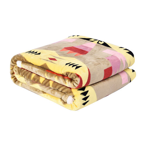 Serenity Night - Santa Fe Collection - Flannel Sherpa Blanket (200x150cm) - Yellow and Multicolour -  Oeko Tex Certified - 220 GSM Sherpa + 270 GSM Flannel
