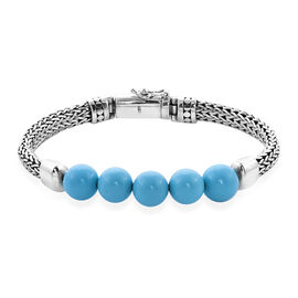 Monster Deal- Royal Bali Collection - Arizona Sleeping Beauty Turquoise Tulang Naga Bracelet (Size 6