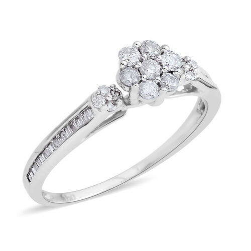 14K White Gold Diamond Flower Ring 0.380 Ct.