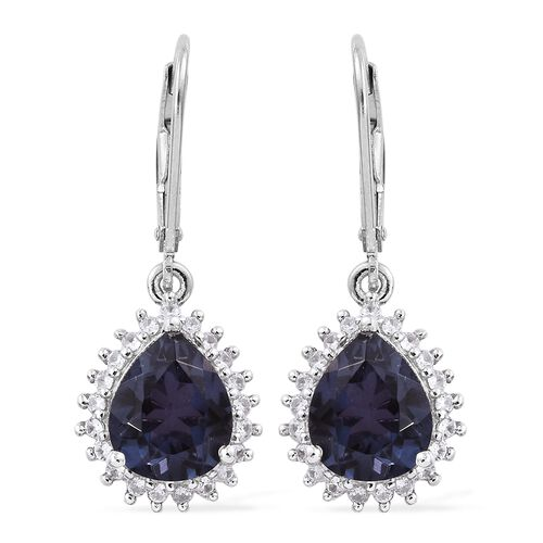 Alexandria Quartz (Pear), Natural Cambodian Zircon Lever Back Earrings in Platinum Overlay Sterling Silver 5.500 Ct.