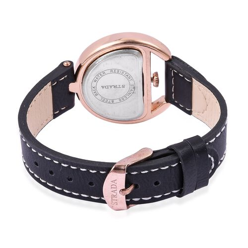 STRADA Japanese Movement White Austrian Crystal Black Dial Water Resistant Watch in Rose Tone with Black Strap
