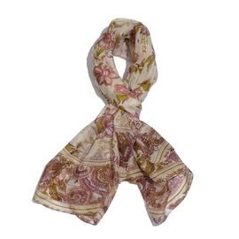 100% Mulberry Silk Multi Colour Handscreen Floral Printed Cream Colour Scarf (Size 175x100 Cm)