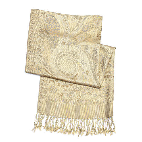 SILK MARK - 100% Superfine Silk Beige, Brown and Multi Colour Paisley and Floral Pattern Scarf (Size 180x70 Cm)